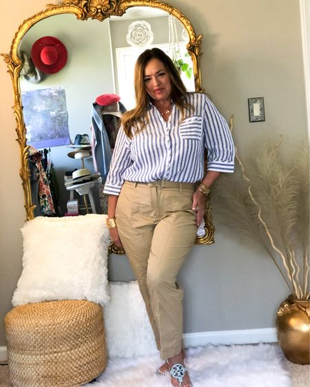 Borrowing some inspiration from The mens club with this fabulous linen no iron shirt #gifted @lovechicos. Paired with Khaki Cargo pants. Also, My light blue TB millers are back in stock. This is an easy breezy comfortable look. . This blouse will Look amazing with white or black Pants! How would you wear it? . . . . . http://liketk.it/3bXdo #LTKstyletip #LTKworkwear #LTKSpringSale #liketkit @liketoknow.it.family @liketoknow.it.home @liketoknow.it Download the LIKEtoKNOW.it shopping app to shop this pic via screenshot
