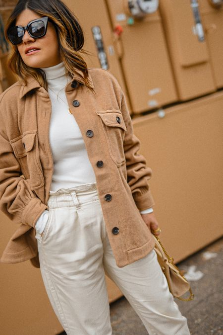 Fall neutral look, walmart finds, shacket,  paperbag pants, neutral outfit, neutral look, walmart fashion #competition  #LTKunder50 #LTKstyletip #LTKSeasonal