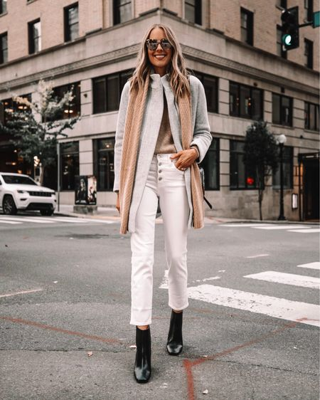 How to wear white jeans after Labor Day and into winter! I know it's early, but just giving outfit inspo for the upcoming months. Loved this light neutral winter outfit from last year   #LTKstyletip #LTKsalealert #LTKunder50