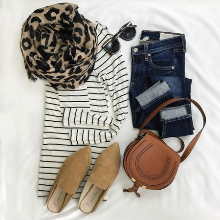 Stripes, leopard and the comfiest slides for some long weekend wear! 🍂 Easy kinda look for a busy few days of errands and now nowhere I'd rather be than the couch 🙌🏻 This tee is a fall staple and comes in 7 colors! All outfit details through the link in my bio, on the LTK app or via // http://liketk.it/2sBpg @liketoknow.it #liketkit
