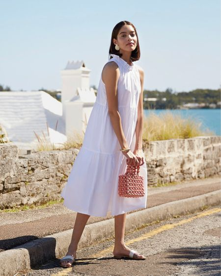 Classic white midi dress for summer! I find their dresses to run big, so size down! Would be a cute maternity option too! White dress, summer outfit @liketoknow.it #liketkit http://liketk.it/3eLg6 #LTKstyletip