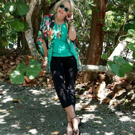 Cool Palm & Collected …….It's so easy to do in the tropics wearing this beautiful tropical print ruana by @lovechicos. Now on sale at 50% off. This print has all my favorite colors and can be worn in several different ways. The Juliette crop worn here is a great summer staple and as always Chico's has the right jewelry to pull it all together.  To shop click the Linktree link in my bio. You can also instantly shop my looks by following me on the LIKEtoKNOW.it shopping app. . We are flying out to Sanibel tomorrow so it is crazy busy today preparing to leave for 3 weeks. Our annual lobster fishing trip in The Keys is coming soon so there will be more fun SheShe stories so stay tuned. I am already feeling the gulf breeze and sandy toes. Happy hump day!! http://liketk.it/3kdxC #liketkit @liketoknow.it #LTKsalealert #LTKunder100 #LTKstyletip #ruana #wrap #kimono #tropicalprint #croppants #sandals #summerjewelry #summerstyle #resortwear