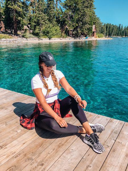 Athleisure. Leopard adidas sneakers - size down, the run big! White crop tee - tts. Black leggings - tts, size down if in between. Red flannel. LA ballcap hat.   #LTKstyletip #LTKunder100 #LTKshoecrush