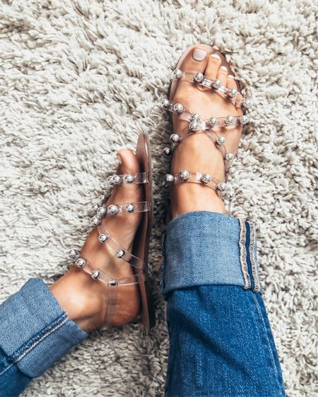 Replacing my Sunday Scaries with SHOES! These beauties are currently up to 30% off with code SAVEMORE. Sharing all my fav studded sandals that are trending now #ontheblog.  Click link in bio or head to shoppedtilshedropped.com to check out these clear studded sandals & more studded sandal finds! http://liketk.it/2Rl4U #liketkit @liketoknow.it
