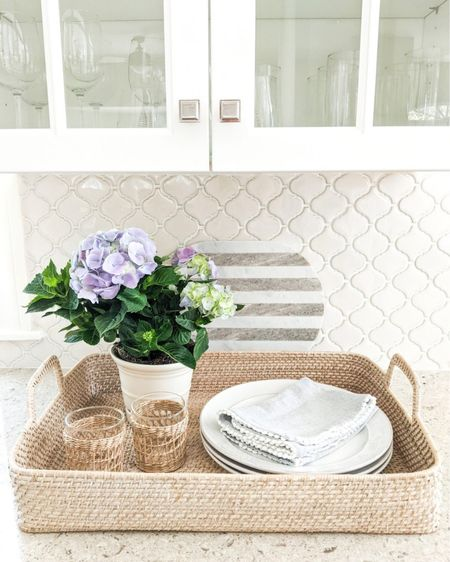 A little mother's day prepping going on over here!  @liketoknow.it @liketoknow.it.home #liketkit #LTKhome #LTKunder50 #LTKunder100 http://liketk.it/3eL2v  summer, hostess gifts, spring decor, spring home decor, summer decor, summer decorations, summer home decorations, coastal decor, beach house decor, beach decor, beach style, coastal home, coastal home decor, coastal decorating, coastal house decor, blue and white home, blue and white decor, home accessories decor, coastal accessories, basket trays, woven basket tray, tray for coffee table, tray for ottoman, wicker tray, summer tray, coastal kitchen, coastal kitchen decor, blue and white home, blue and white decor, cane, seagrass, rattan, kitchen decor, kitchen accessories and decor, kitchen accents, decor under 50, home decor under $50, dinner plates, dinner plate sets, dinner plate set, white plates, white dinnerware sets, marble cutting board, marble cheese board, striped marble board, marble serving board, drinking glasses set, woven glasses, raffia glasses, cane drinking glasses, cane glasses
