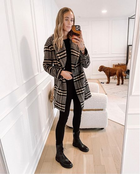 This plaid coat looks expensive but it's on major sale right now! Wearing an XS. Love it with all black and these combat boots also on sale (tts) #nsale #nordstromsale #anniversarysale #fashionjackson #fallfashion #liketkit   #LTKsalealert #LTKunder50 #LTKunder100