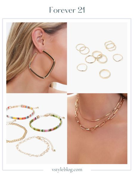 Wedding Guest Jewelry, Summer Jewelry, Gold Jewelry, Earrings, Rings, Bracelets, Necklace, LTK Day, Sale Alert  Square Hoop Earrings (was $5.99, now $4.79, Smooth & Twisted Ring Set (was $6.99, now $5.59), Variety Bracelet Set (was $5.99, now $4.79), Layered Chain Necklace (was $7.99, now 6.39)  #LTKsalealert #LTKunder50 #LTKDay
