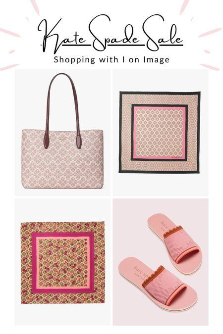 🌸🌸 Kate Spade summer sale finds: Blush pink spade flower silk square scarves and tote. Style with knitted pool slides 🌸🌸🌸  #LTKstyletip #LTKsalealert #LTKitbag