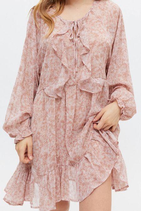 Blush ruffle long sleeve dress   #LTKSeasonal #LTKunder100 #LTKHoliday