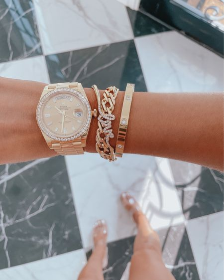 http://liketk.it/3hlbP #liketkit @liketoknow.it #LTKDay Emily Ann Gemma, Cartier dupe bracelet, watch, gold jewelry, gold watch, LTK day, LTK sale, summer outfit, styled collection: 30% off with code LTK30