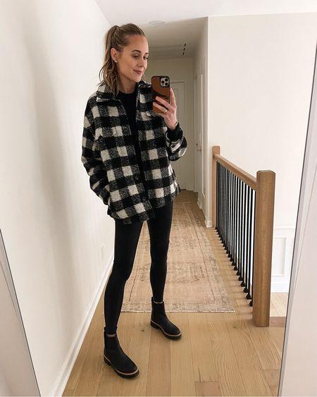 Causal fall outfit #plaidjacket #shacket #soanx #fauxleatherleggings #blackboots #lugsole #boots   #LTKstyletip #LTKunder100 #LTKshoecrush