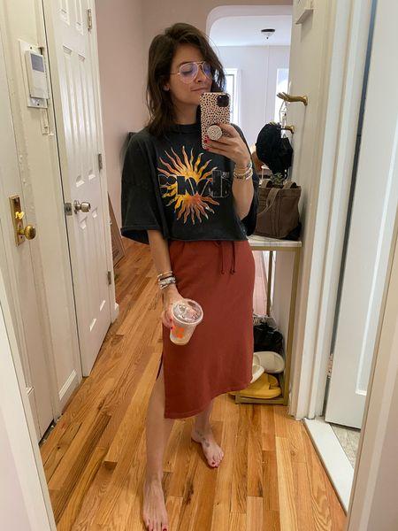 Band tee Cropped tee Casual outfit  Skirt Cozy  MIDI skirt   #LTKSeasonal #LTKunder100 #LTKbacktoschool