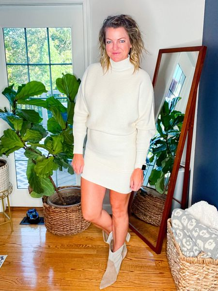 This asymmetric dress is so cute and TTS. I love it with and without a belt.   These boots are so fun and TTs     #LTKshoecrush #LTKSeasonal #LTKstyletip
