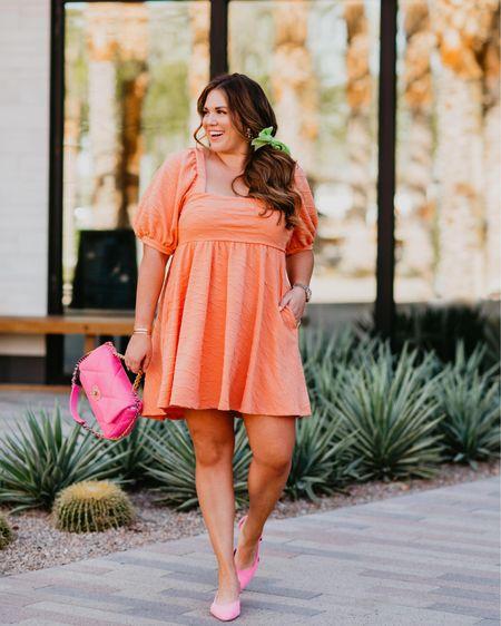 orange cream dress. wearing the size xl!   #LTKcurves #LTKunder100 #LTKshoecrush
