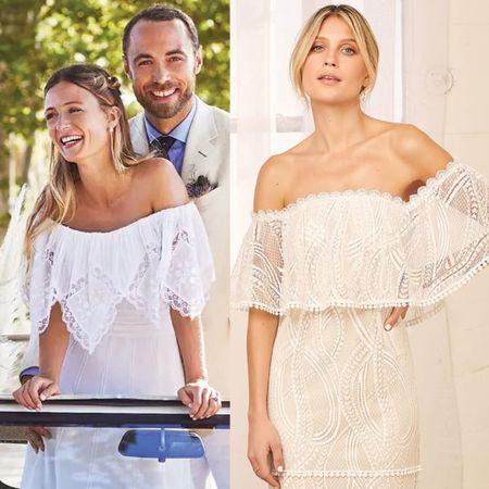 Duchess Kate's sister in law Alizee married last week in France shop similar wedding dress #bride #wedding #vintage #lace #bridal   #LTKeurope #LTKwedding