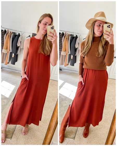Now ☀️ and later 🍂   This is an NSale dress that is continuously going in and out of stock, but SAVE it for wishlist notifications because I am telling you…it is so good.  It comes in 4 colors (rust, green, blush, and black).   Gorgeous drape, lined, has pockets, a tiny side slit. Literal swoon for summer date nights and then into fall with boots and a sweater or cardigan. 🍂 The rust color is amazing! #nsale #falldress #satindress #transitionaloutfit #summertofalloutfits nsale dress, nsale dresses, fall dress, fall dresses, slip dress, slip dresses