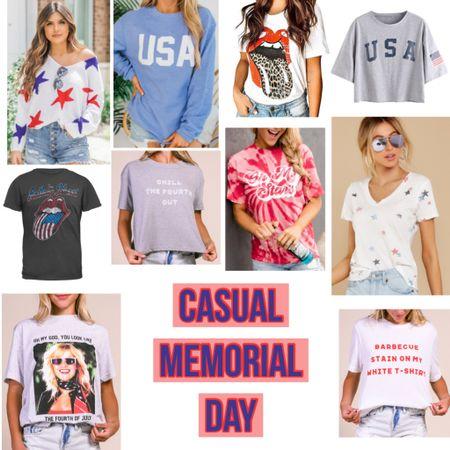 Casual Memorial Day Tees  #memorialday #redwhiteblue #graphictee #riffraff #tshirt #casualstyle #america #patriotic #usa #flag #shopreddress #pinklilyboutique #wfh #workfromhome #stars #starsandbars #StayHomeWithLTK #LTKunder50 #LTKstyletip #ltkfamily #liketkit @liketoknow.it http://liketk.it/2P3Mf