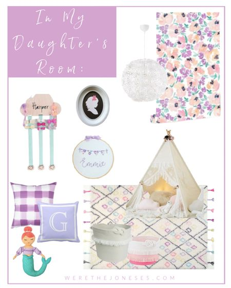 Girls bedroom decor   #bedroomdecor #girlsroom #wallpaper #rug #pillows #teepee #doll #toystorage    #LTKGiftGuide #LTKkids #LTKhome