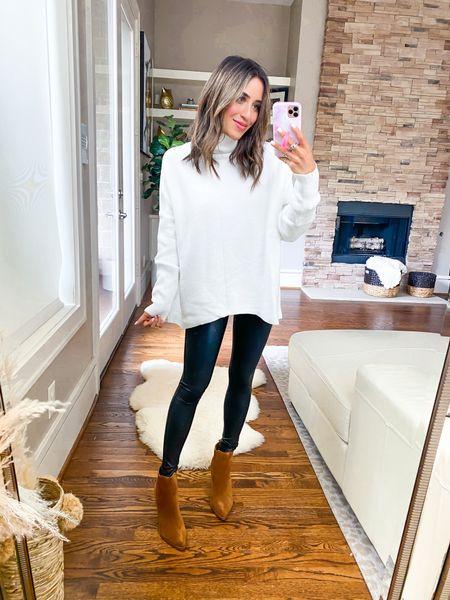 Amazon sweater size Xs, leggings size Xs petite, booties size 7  #LTKunder100 #LTKunder50 #LTKsalealert