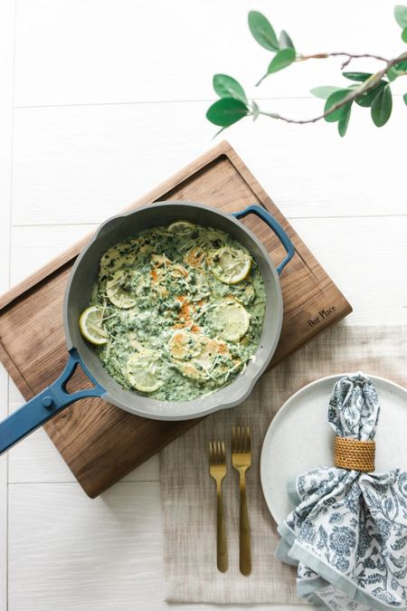 I am still learning my way around when cooking with the Always Pan. I am used to using several different pots and pans to cook dinner, but the Always Pan simplifies meals. This do-it-all wonder is designed to replace 8 traditional pieces of cookware! Our Place was so kind and sent me a few coupons to share with you today. Use the code AMYCHOPS20 for 20% off all knives and knife bundles (through 8/22/21) or use COASTALOAK10 for 10% off everything else.  Cookware, dining room, kitchen, pots and pans, entertaining, table scape, fall, party, dining, breakfast nook, dinner, knives, serving, plates    #LTKsalealert #LTKhome