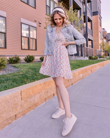 Sweet as a peach 🍑  Y'all know I can't resist a fruit print! This is my springtime uniform- frilly frock, denim jacket, and white sneakers. These sneaks are from @justfabonline & they're a new fav and under $50! What's your spring uniform? . . . You can shop this look by going to the link in my bio or by following me in the @liketoknow.it app 🍑🌿✨ #justfabpartner  http://liketk.it/3f2f4 #liketkit #LTKunder50 #LTKshoecrush #LTKstyletip