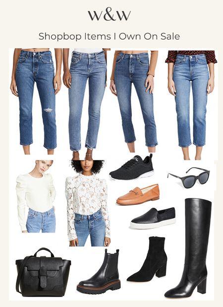 Shopbop sale picks!  Cropped jeans Levi's jeans Straight jeans Ankle drop jeans Lace top Puff sleeve top Sweatshirt Slip on sneakers Apl sneakers Heeled boots Sunglasses Cute bag Ankle booties Lug sole boots   #LTKsalealert #LTKSeasonal