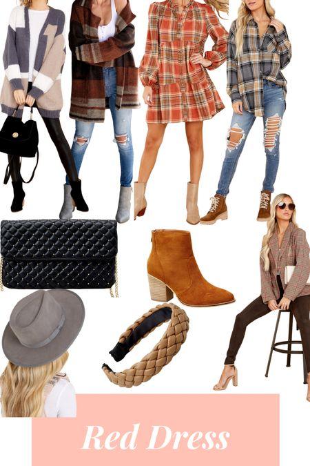 Favorite fall items - flannel shirts - flannel dresses - booties - headbands - black bag - blazers !   #LTKshoecrush #LTKunder50 #LTKSeasonal
