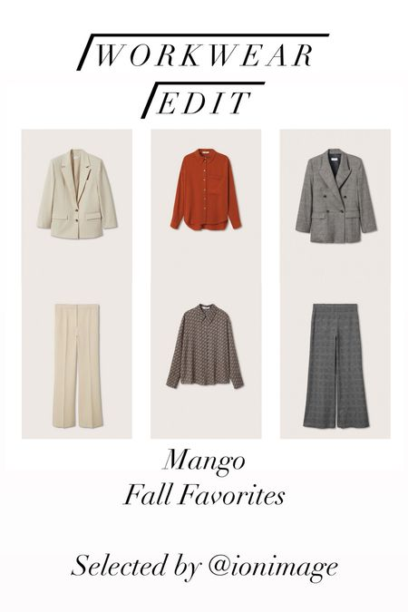 Workwear Edit: Mango Fall Favorites 🍁 Cream wool suit, rusty brick red blouse, monogram printed blouse and checked charcoal grey double-breasted suit 🍁   #workwear #officestyle #businessstyle #businesswear #officewear  #LTKSeasonal #LTKstyletip #LTKworkwear