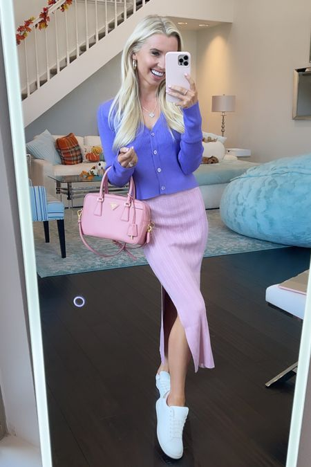Loving this new Nordstrom cardigan, paired with this body on skirt by Abercrombie, Walmart sneakers, and of course, pink Prada!   #LTKstyletip #LTKunder100 #LTKshoecrush