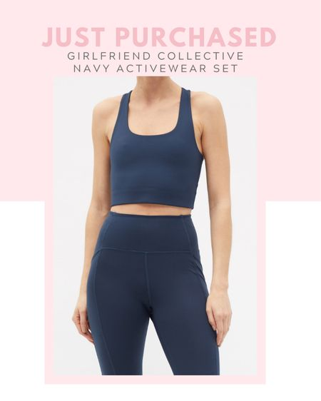 Just purchased: girlfriend collective navy activewear set high rise compression leggings, high waisted, high impact sports bra, fitness, workout outfit, matches fashion, comfy clothes, casual outfit  #LTKunder100 #LTKsalealert #LTKfit
