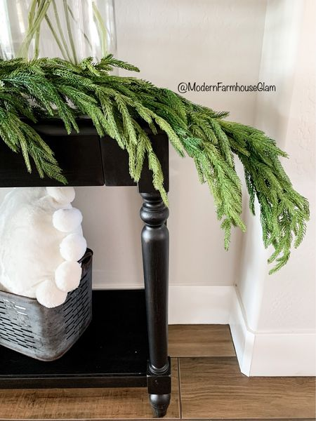 The most beautiful realistic looking pine garland for Christmas! Christmas decorations, home decor, entryway table, Pom Pom white pillow, holiday decorations  Furniture, Styling, black entryway table sofa table console table ModernFarmhouseGlam, Pottery Barn, Wayfair, Amazon home  #LTKSeasonal #LTKhome #LTKHoliday