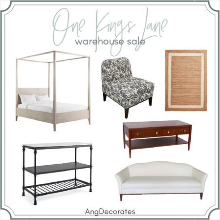 Sale Alert: One Kings Lane Warehouse Sale! Can you believe this bed is under $350?!    Woven rug kitchen cart coffee table canopy bed camelback loveseat slipper chair  #LTKsalealert #LTKhome