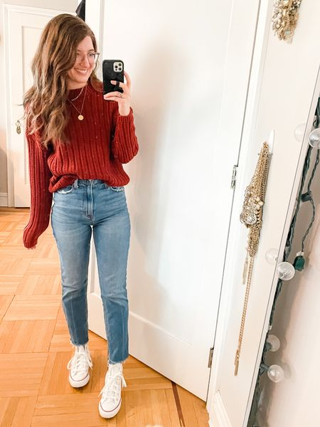 Sweater: size up 1 (wearing size small) runs cropped. Washes great!  Jeans: size up 1- wearing regular length. Super high rise. Favorite jeans ever!  Sneakers: only come in half sizes so size down if you're between sizes   #LTKSeasonal #LTKstyletip #LTKsalealert