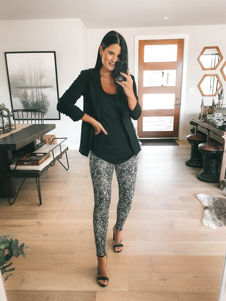 I linked a ton of black blazer options!  I linked my black lace Bralette and my black layering tank. Go up a size in the tank! I'm wearing a large and it's only $19. Comes in multiple colors. These snake printed leggings are spanx faux leather leggings new arrivals! I'm wearing a small. Use code DTKxSPANX for 10% off your order.    #LTKstyletip #LTKsalealert #LTKworkwear