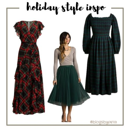 Holiday style inspo featuring tartan plaid dress on sale right now at Macy's and this green plaid smocked dress is too cute. This green tulle skirt is a fun find for a holiday party this season!  Christmas party holiday party   #LTKSeasonal #LTKstyletip #LTKHoliday