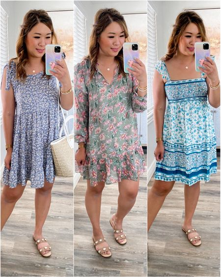 Mint Julep Boutique (Left) Blue Floral Dress: Medium Middle/ Right Dress: Small  http://liketk.it/3hqOY #liketkit @liketoknow.it