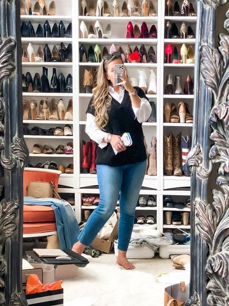 Anthropologie sweater vest. Fall outfits. Casual style. Ootd and accurate photo of life right now. Stuff everywhere! Denim on major sale       #LTKunder100
