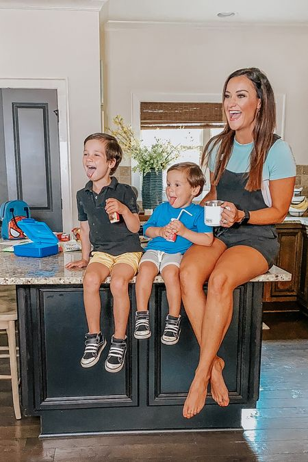 Back to school prep has begun! My favorite black Amaryllis Apparel overalls are marked down $30 off and I'm wearing a size small. They run TTS! They have pockets and a drawstring waist, and they're so comfy for busy school mornings!   #LTKfamily #LTKfit #LTKkids