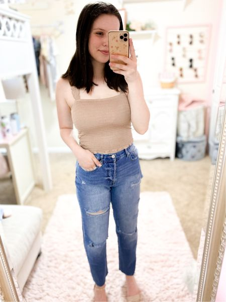 Love this look! Easy to dress up or down. Top & jeans fit tts (jeans are perfect if you have wider hips) but size down 1 in the heels.  #LTKshoecrush #LTKunder50 #LTKunder100