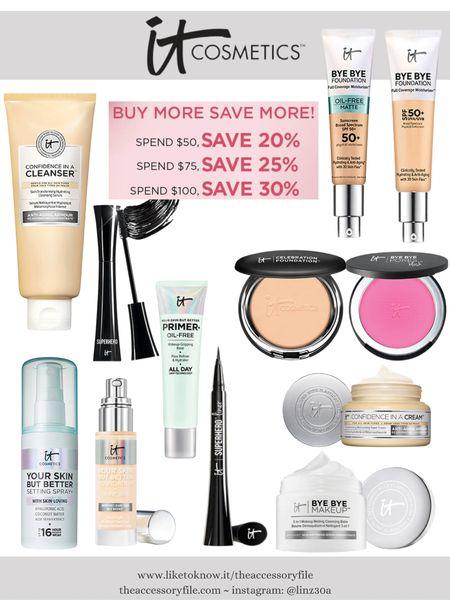 Buy more, save more at It Cosmetics!    http://liketk.it/3hCYc #liketkit @liketoknow.it #LTKbeauty #LTKsalealert   IT cosmetics - makeup, beauty, makeup brushes, foundation brush, your skin but better foundation, cc cream, tinted moisturizer, setting powder, bye bye pores, eyeliner, mascara, confidence in a cream moisturizer, blush, makeup setting spray