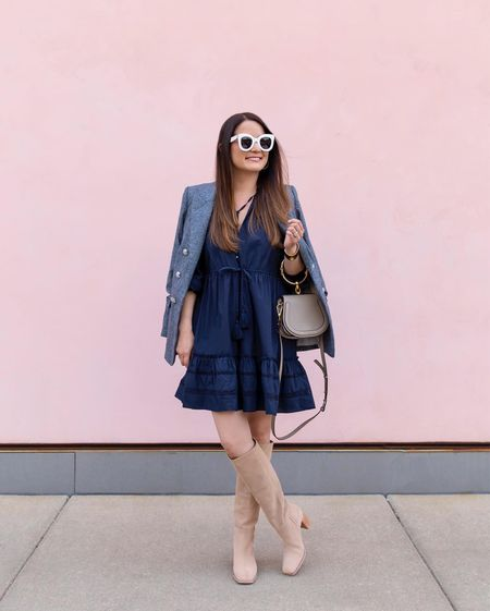 A Veronica Beard navy dress and blazer with Sam Edelman suede boots from the Nordstrom Anniversary Sale paired with a Chloe Nile bag and Celine sunglasses   #LTKitbag #LTKsalealert #LTKshoecrush