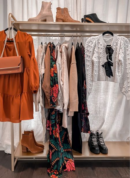 On the rack /// will be sharing these in a reels video soon!  Amazon dress, Amazon finds, Marc Fisher boots, floral dress, shearling boots   #LTKunder50 #LTKunder100