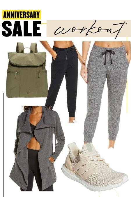 Nordstrom sale workout outfit Zelda lounge pants leggings grey and black zella workout jacket long cozy adidas Ulta boost  Sweaty Betty backpack #liketkit @liketoknow.it http://liketk.it/3jRUx #LTKitbag #LTKfit #LTKunder100