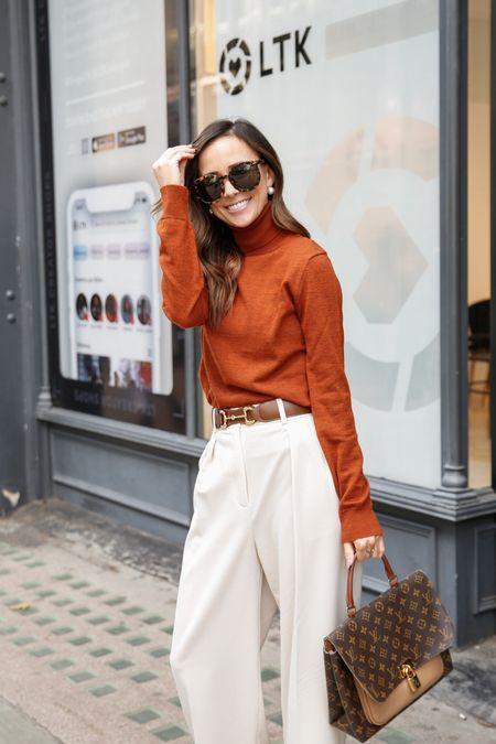 wide leg pants, wide leg trousers, wool turtleneck, brown belt, Gucci belt  #LTKunder100 #LTKeurope