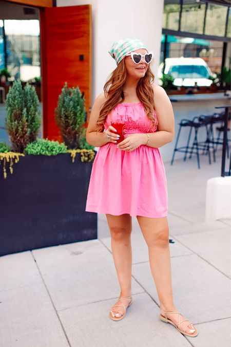 The $25 pink dress of your dreams.   Runs big! I got a large and it is huge up top. Go TTS or a size down.   Sandals are under $30 and TTS Sunglasses under $20    #LTKstyletip #LTKunder50