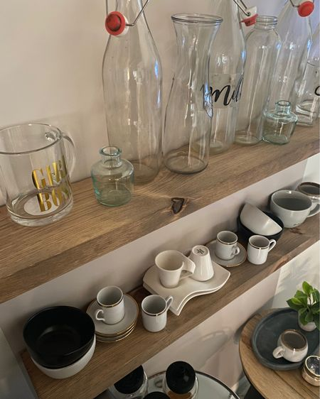 So excited with my arch decal set up! I utilized unused glassware and mugs in my kitchen I barely use to display! Bought some shelves from Amazon as well as additional accent table from Target! Shop everything below! #target #accenttable #blackaccenttable #archdecal #floatingshelves #glassware #glassbottles #coffeemugs @liketoknow.it.home #LTKstyletip #LTKhome You can instantly shop my looks by following me on the LIKEtoKNOW.it shopping app http://liketk.it/3izO7 #liketkit @liketoknow.it