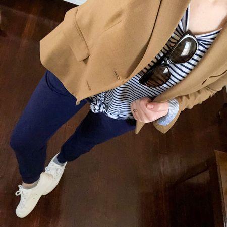 Business up top w/ blazer & stripes, party down below w/comfy cotton joggers & white sneakers   @liketoknow.it http://liketk.it/3932U #liketkit   #LTKstyletip #LTKunder100 #LTKSeasonal
