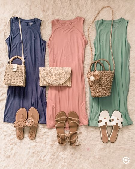 My favorite $9.96 dress is restocked in all these pretty summer shades! Perfect for the heatwave we've been having. 🥵 What do you say, Florida and Texas friends, does 91 degrees qualify as hot?? ☀️🤣🤷♀️ #itdoesforme These fit true to size, I wear a small. I'll link in Stories and the LTK app (or click the link in bio!) http://liketk.it/3hdb2 #liketkit @liketoknow.it #LTKunder50 #walmartfashion