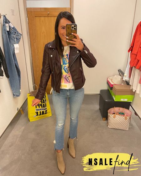 Nordstrom anniversary sale outfit - mother jeans sized up to a 26, they are tiny but do have stretch. Tee I sized up to a small because there were no XS left but it totally works. Moto jacket runs small! I am wearing a 4 and would prefer a 6. I am normally a 0! Booties are true to size but you probably need to size up if you have a wider foot. I have a narrow foot.  #nordstromanniversarysale #nordstrom #nordstromanniversarysale2021 #nsale #nsale2021 #anniversarysale #nordstromsale Nordstrom anniversary sale Nordstrom anniversary sale 2021 nsale nsale2021        #LTKshoecrush #LTKunder100 #LTKsalealert