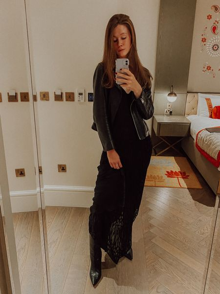 Going out in my favourite black midi dress (comes in one other colour), leather jacket and ankle boots. A fall staple!  I'm wearing IT 40 in the dress, UK 10 (size up two) in the jacket, and 39.5 in the boots (size up one half size).  #LTKSeasonal #LTKstyletip #LTKHoliday